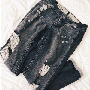 Black Rewash Ripped Jeans
